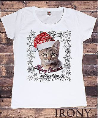 Irony T-shirt Women White T-shirt Xmas Cute Animal  Print Christmas Festive fashion