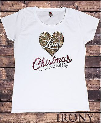 Irony T-shirt Women White T-shirt Xmas heart Love  Glitter Effect Print Christmas Festive