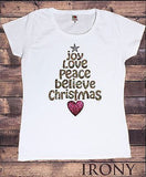 Irony T-shirt Women White T-shirt Xmas Joy Love Peace Tree Effect Print Christmas Festive