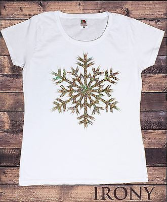 Irony T-shirt Women White T-shirt Xmas Novelty Christmas Gold Snow Flake Glitter Effect Print
