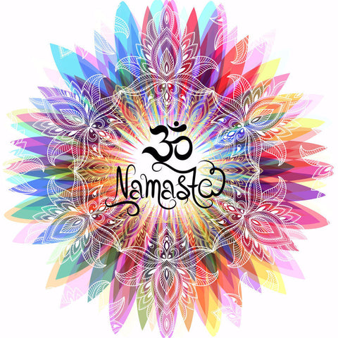 Irony T-shirt Womens T-Shirt Namaste OM flowers colour explosion Yoga meditation Zen print TS731