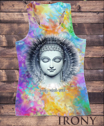 Irony T-shirt Womens Vest Top,Body Mind Soul Buddha Chakra Meditation Zen Sublimation Print SUB5919