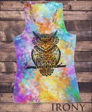 Irony T-shirt Womens Vest Top, Colourful Summer Vest, Angry Owl Tie Dye Sublimation Print SUB5918
