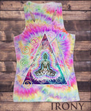 Irony T-shirt Womens Vest Top, Om Aum Jade Flame Buddha Meditation Sublimation Print SUB593