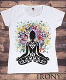 Irony T-shirt Womens White T- Shirt, Butterfly Zen Halo, meditation Budha Print