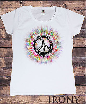 Irony T-shirt Womens White T- Shirt, CND Peace Graphics Tie dye Effect back Drop Print