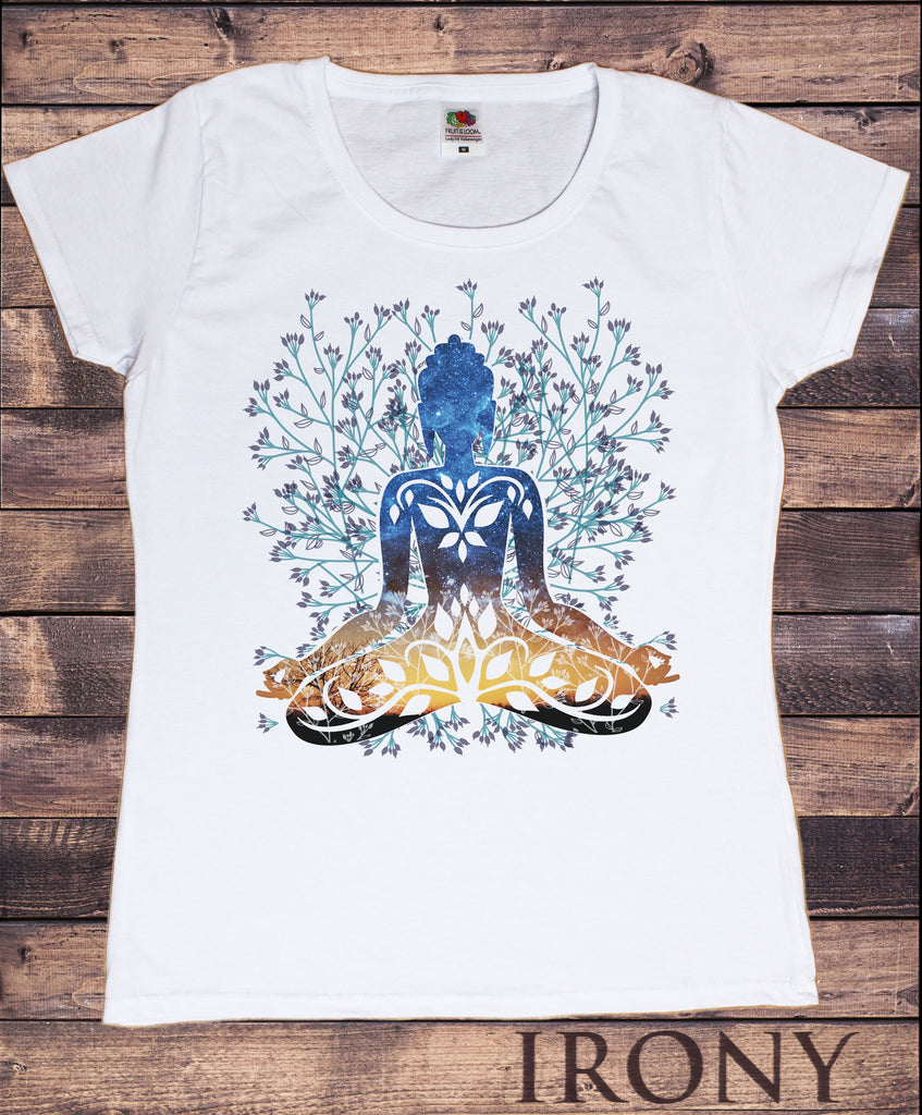 Irony T-shirt Womens White T-Shirt Flower Yoga Top Buddha Chakra Meditation India Hobo Boho Print TSA15