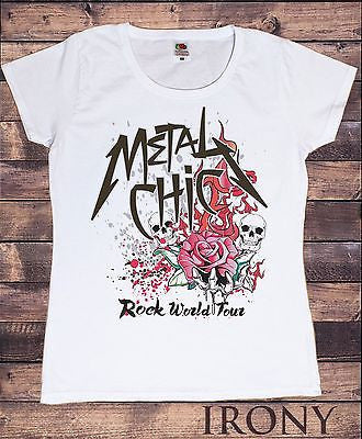 Irony T-shirt Womens White T-shirt METAL CHICK- Rock World Tour-Flames & Roses Print TS339