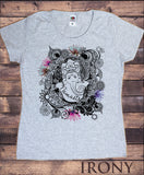 Irony T-shirt Womens White T-Shirt Namaste Ganesh Lotus flowers Yoga meditation Zen print TSY14