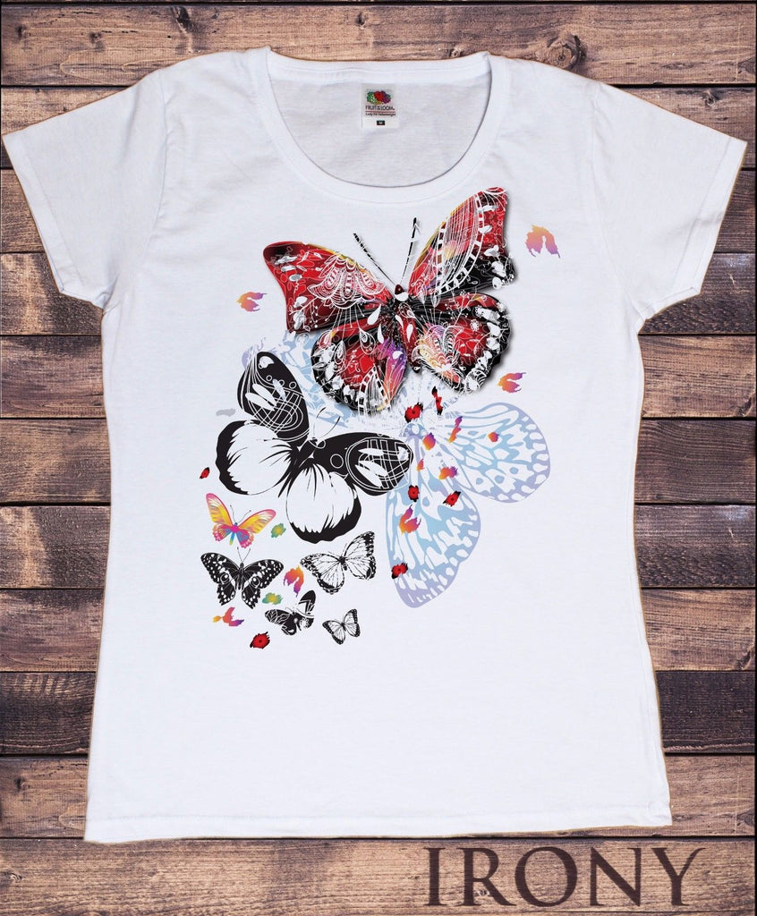 Irony T-shirt Womens White T-shirt Scattered Butterfly Design  Summer Novelty Print TS245
