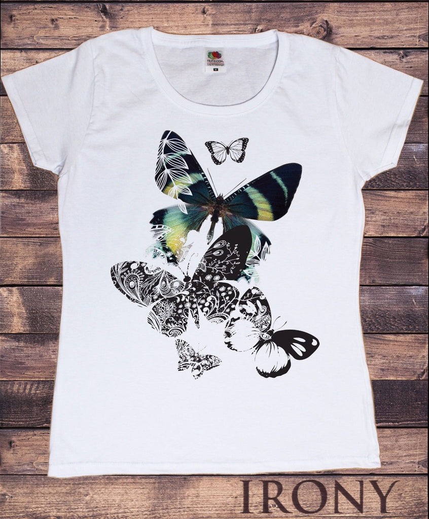 Irony T-shirt Womens White T-shirt Scattered Butterfly Design Summer Novelty TS248