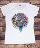 Irony T-shirt Womens White T-Shirt Yin Yang Find Balance Splatter Paint Lotus Print TS273