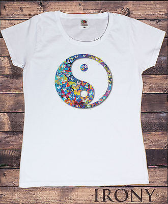 Irony T-shirt Womens White T-Shirt,Ying Yang Butterfly Vibrant graphical  Novelty  Print
