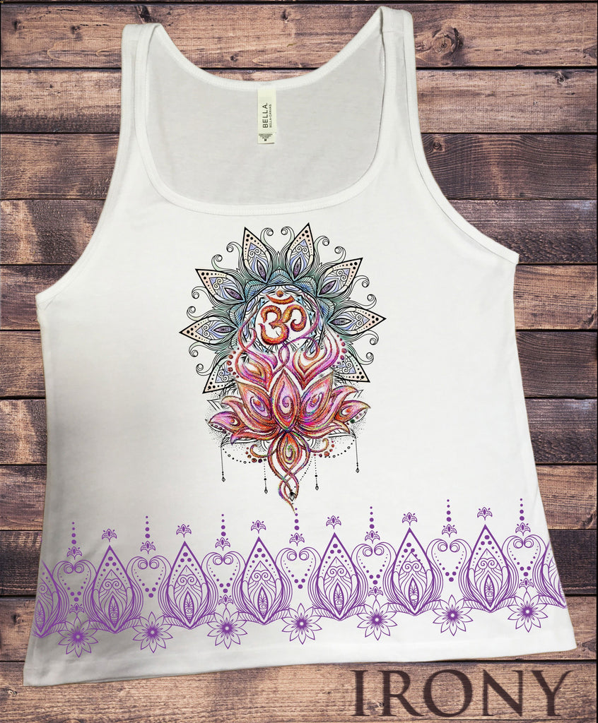 Irony Tank Top S Jersey Tank Top Aztec Flower Lotus Om Meditation Sketch effect Print JTK1385