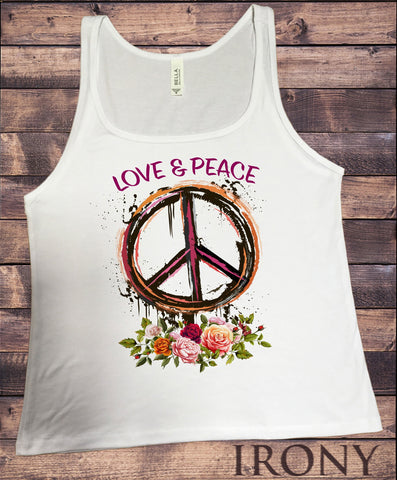 Irony Tank Top S Jersey Tank Top CND Love and Peace Roses, Flowers Print JTK1434