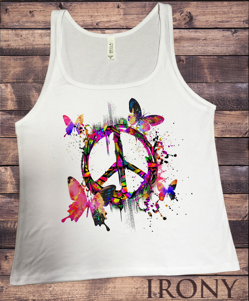 Irony Tank Top S Jersey Tank Top CND Peace Butterfly Colour Splash Vibrant Print JTK1433