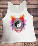"Irony Tank Top S / White Jersey Tank Top ""Find Balance"" Flowery Ying Yang Design Print JTK1231"