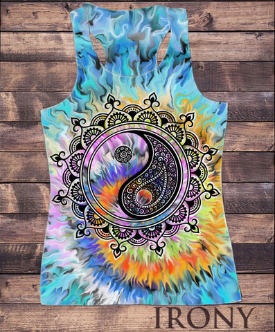 Irony Vest Womens Tie Dye Vest, Tiger Iconic Animal- Tiger Tie Dye Print SUB870