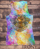 Irony Vest Womens Vest Top, Colourful Summer Vest, Abstract Owl Tie Dye Sublimation Print SUB5922