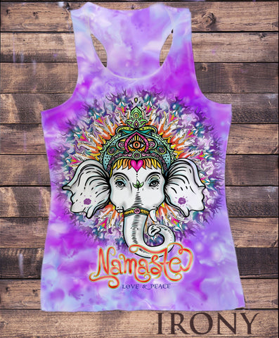 Irony Vest Womens Vest Top,Ganesh Elephant God Line Art Namaste Zen India Sublimation Print SUB802C
