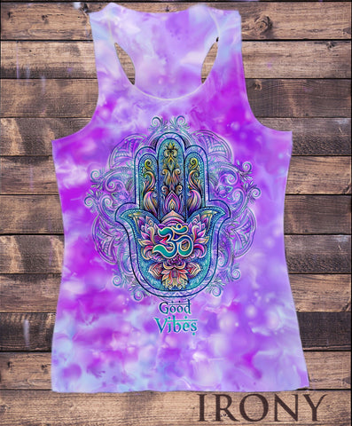 "Irony Vest Womens Vest Top,""Good Vibes"" Om India zen Positive Slogan Hamsa Hand Of Fatima Print SUB788"