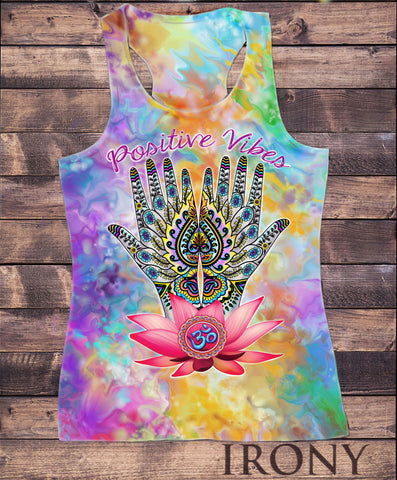 Irony Vest Womens Vest Top,Positive Vibes Hindu Spiritual Zen Hand OM India Lotus Sublimation Print SUB810B