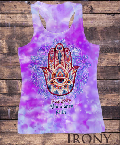 "Irony Vest Womens Vest Top,""Positivity, Abundance, Faith"" Hamsa Hand Of Fatima Aztec Pattern SUB787"