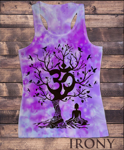 Irony Vest Womens Vest Top, Yoga Mediation Om India zen OM Tree Flying birds Print SUB811