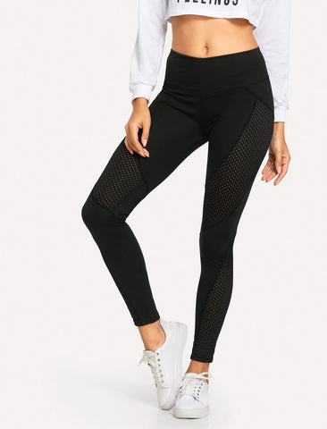 Women's Cut Out Elastic Waist Leggings