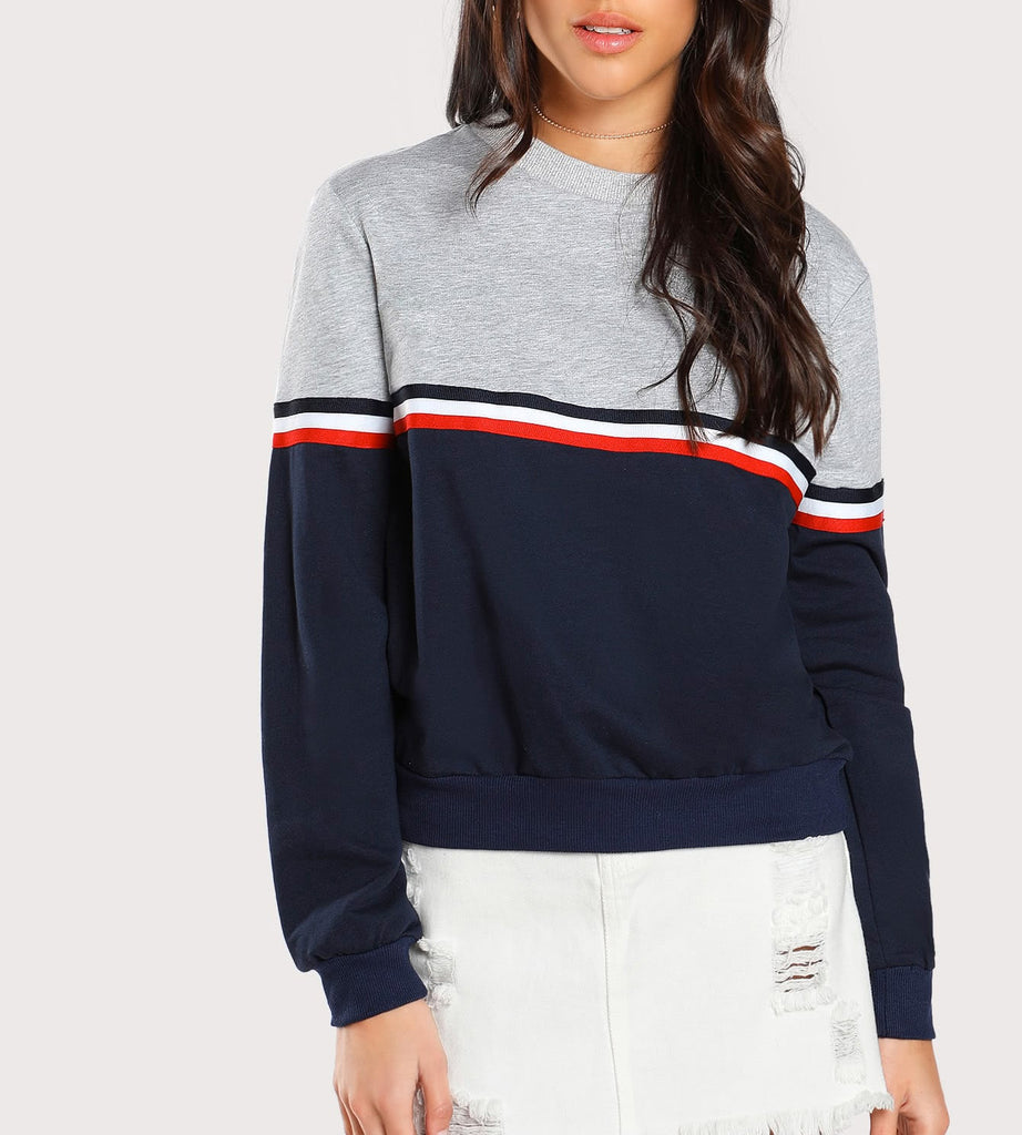 Women's Striped Woven Tape Detail Two Tone Sweatshirt