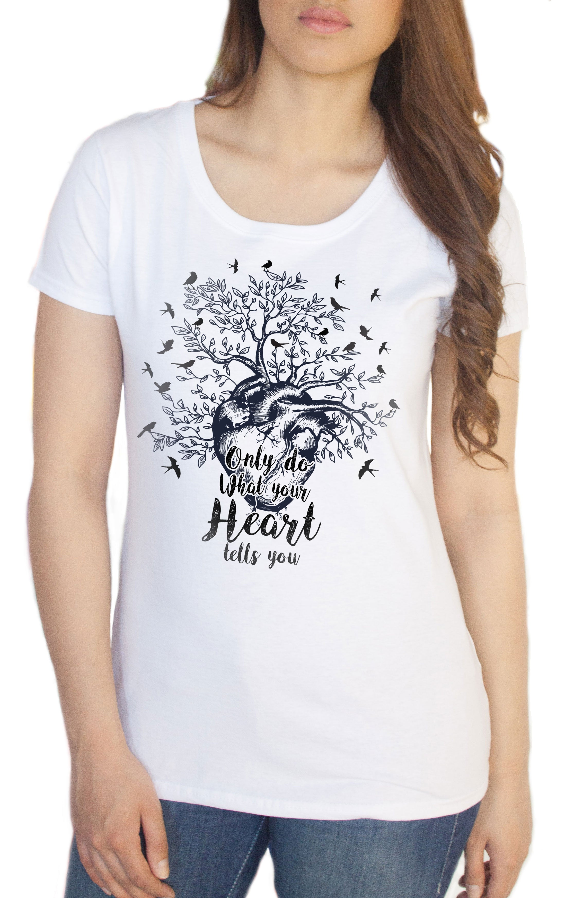 TS909 Women's Tee /'Only do what your heart tells you/' Birds Love Heart Bird Tree