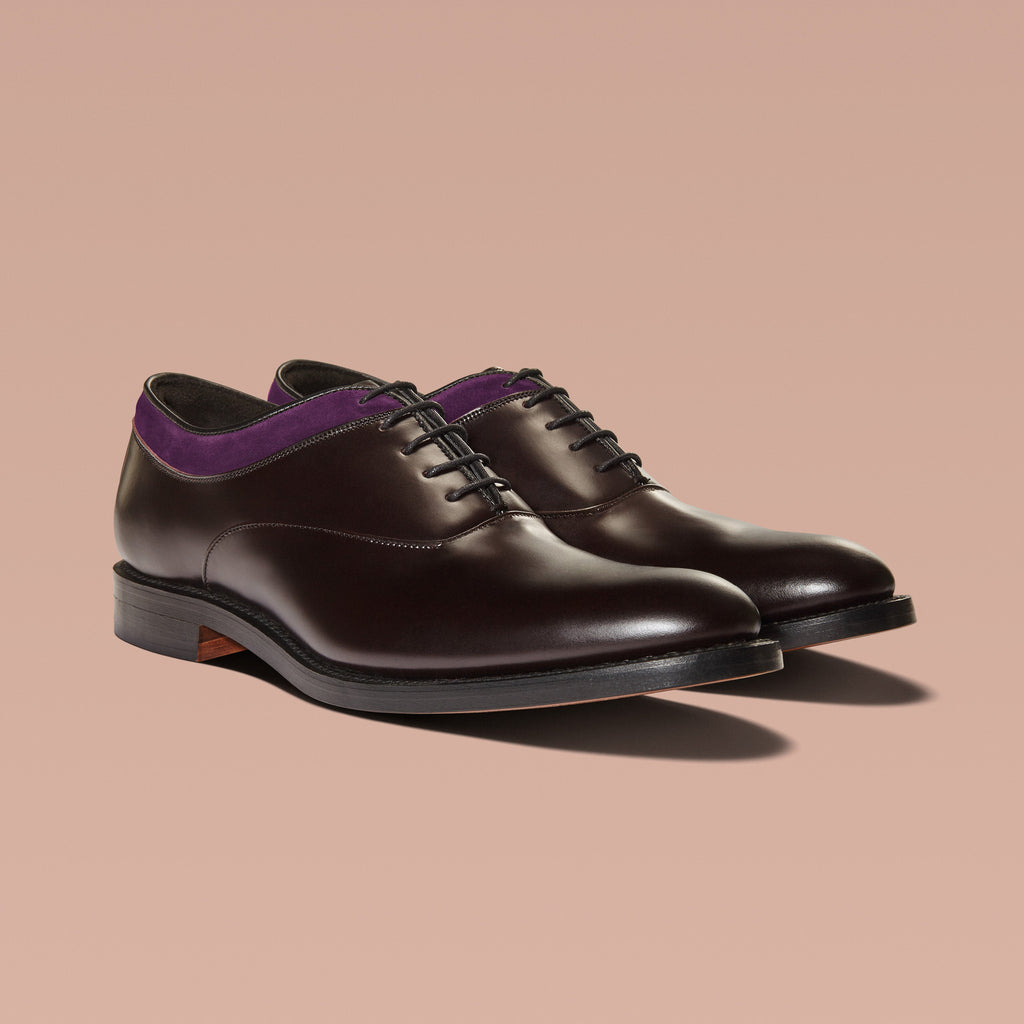 MAGNUS | Brown Leather & Aubergine Suede Oxford Shoes