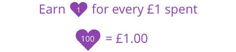 Earn 1 heart for every £1 you spend, 100 hearts = £1 voucher