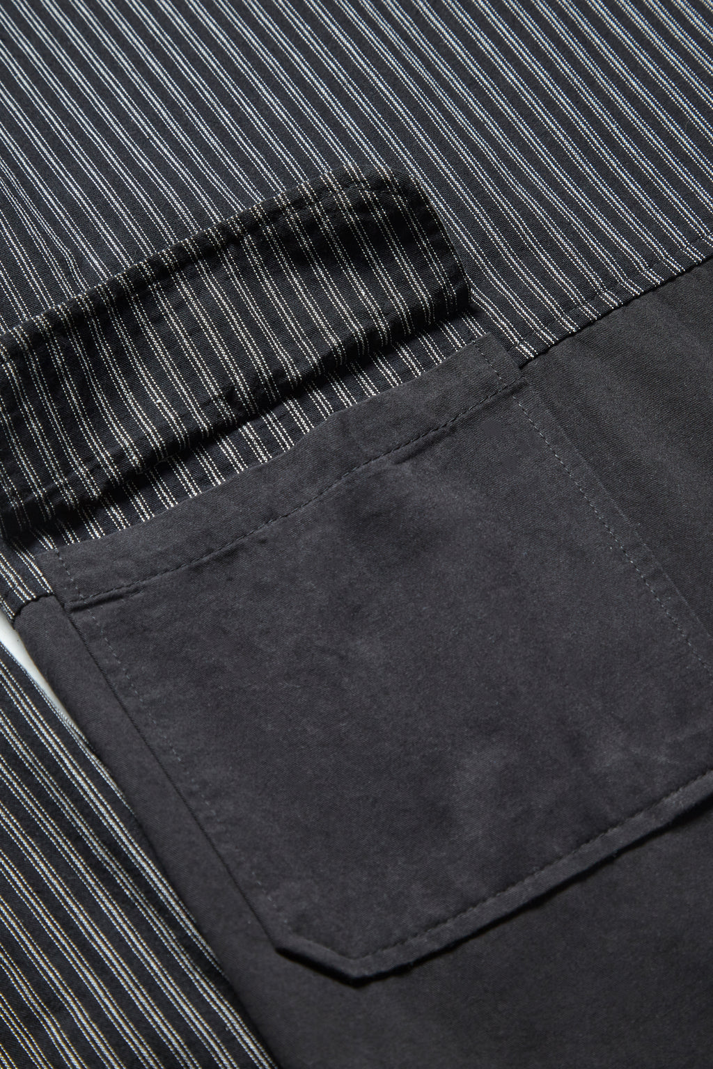 Blacksmith - Chambray Stripe Popover Shirt - Black