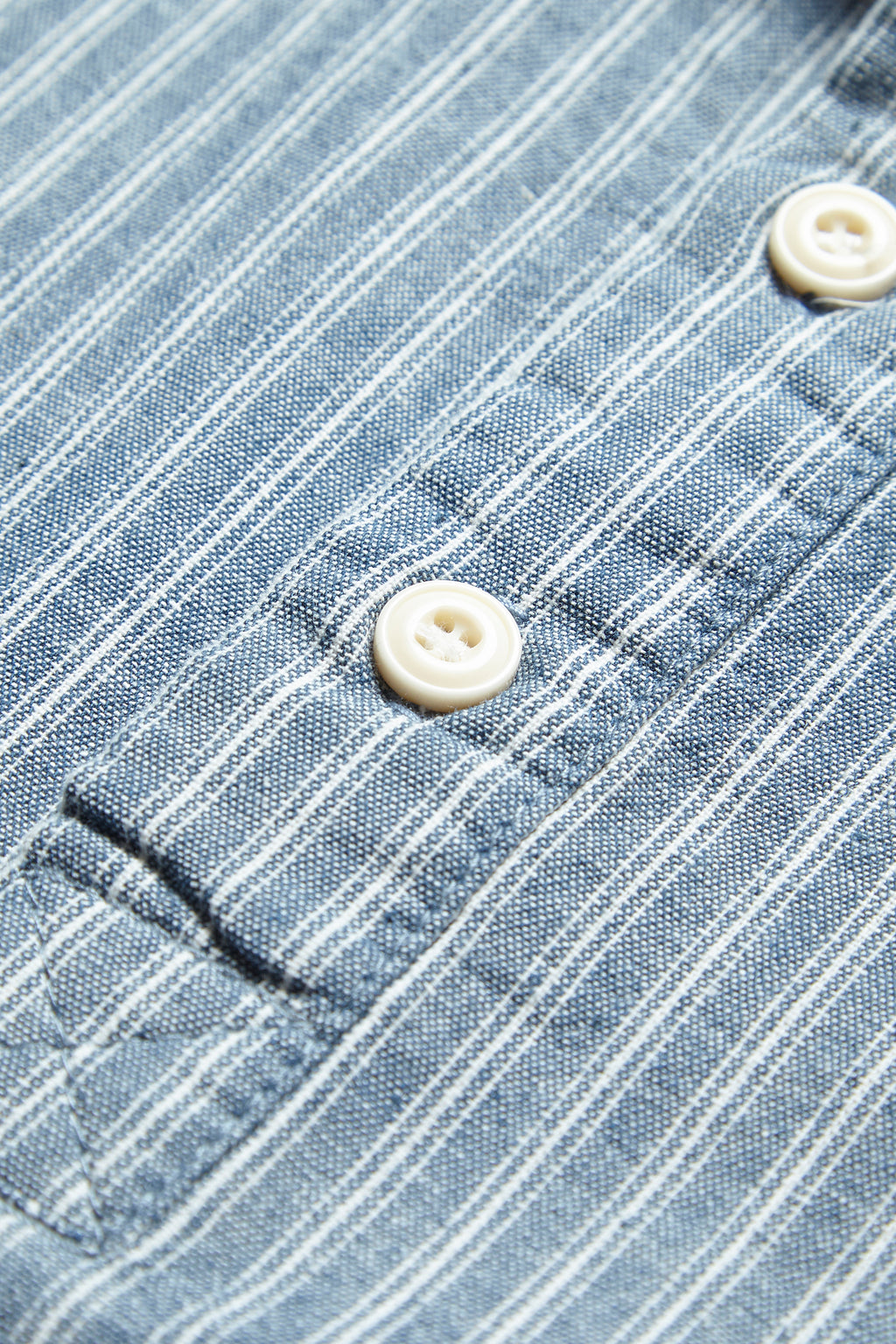 Blacksmith - Chambray Stripe Popover Shirt - Blue