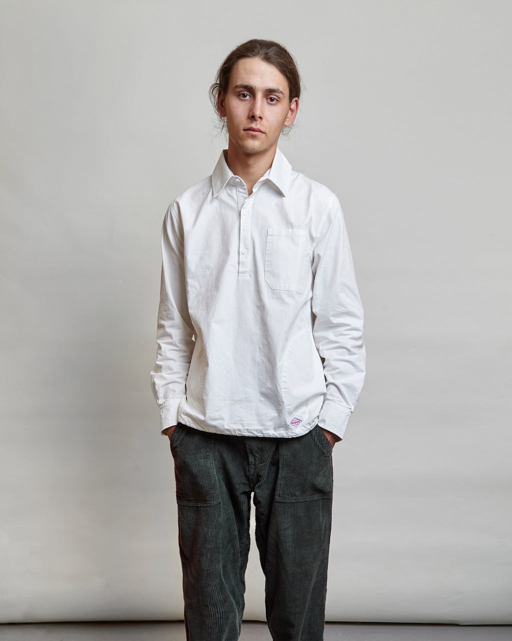 Blacksmith - Washed Popover Shirt - White