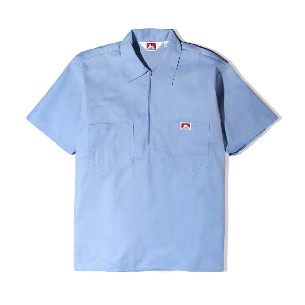 Ben Davis - 1/4 Zip Pullover Work Shirt - Baby Blue