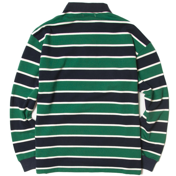 Blacksmith - Striped Long Sleeve Polo - Forest Green