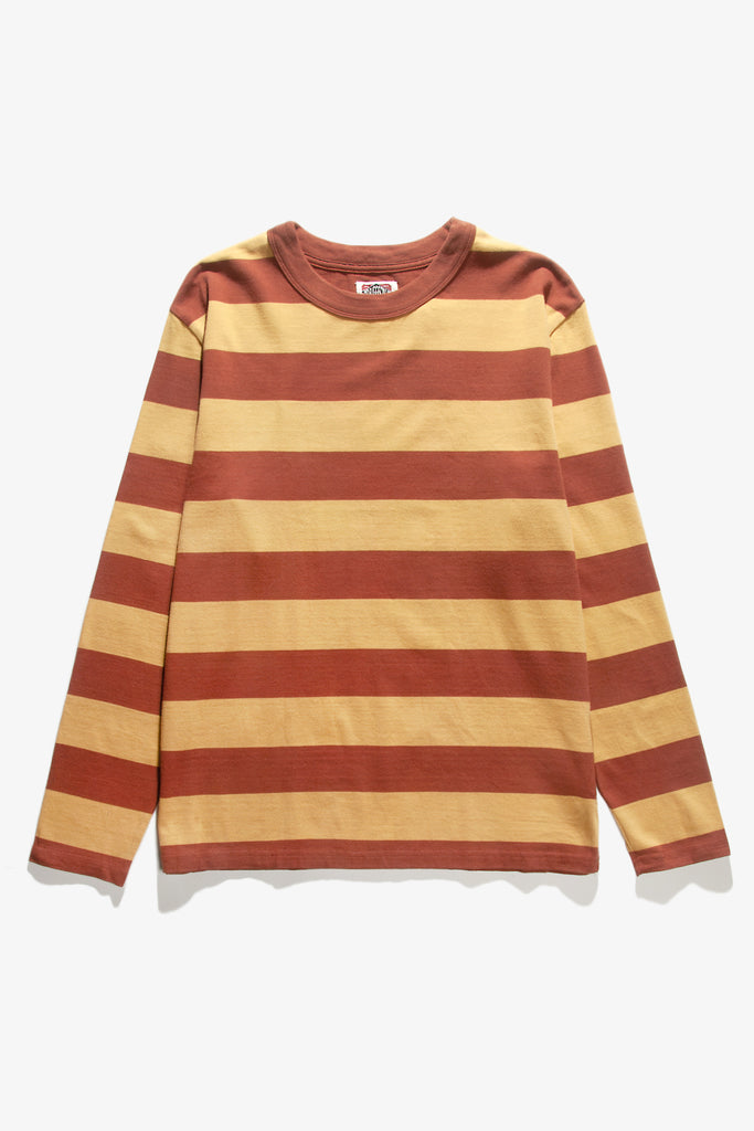 Red Ruggison - Border Long Sleeve T-Shirt - Yellow/Brown