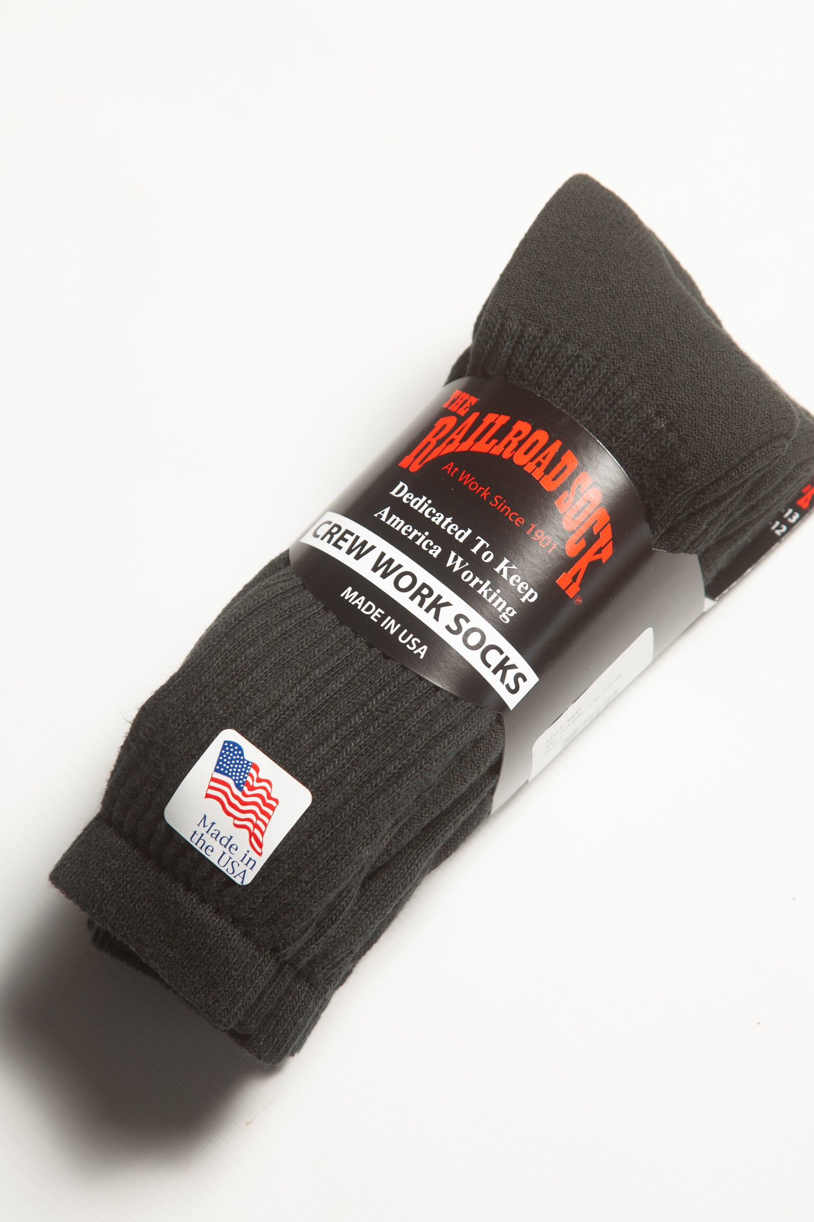 Railroad Sock - 3 Pack Crew Socks - Black