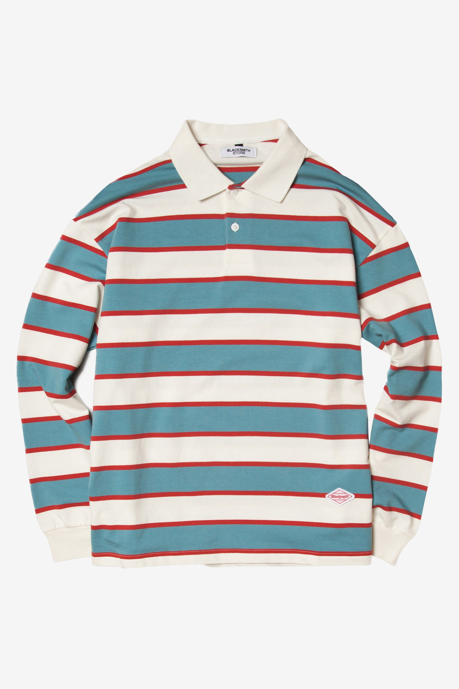 Blacksmith - Striped Long Sleeve Polo - White