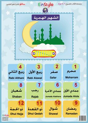 EinStylo - Lunar (Hijri) months in both English and Arabic (5-7 years) - Poster