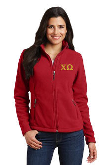 Chi Omega Ladies Fleece Jacket