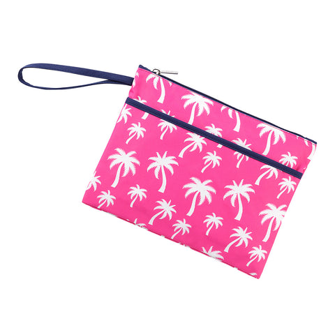 Hot Pink Palm Zip Pouch Wristlet