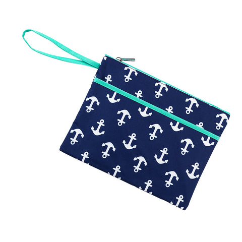 Navy Anchor Zip Pouch Wristlet