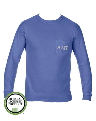 Alpha Delta Pi Long Sleeve Comfort Color Pocket Tee