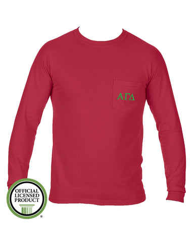 Alpha Gamma Delta Long Sleeve Comfort Color Pocket Tee
