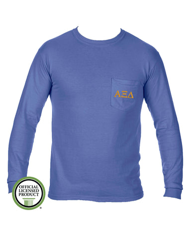 Alpha Xi Delta Long Sleeve Comfort Color Pocket Tee