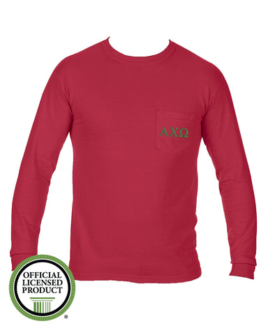 Alpha Chi Omega Long Sleeve Comfort Color Pocket Tee