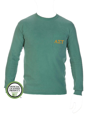Alpha Sigma Tau Long Sleeve Comfort Color Pocket Tee
